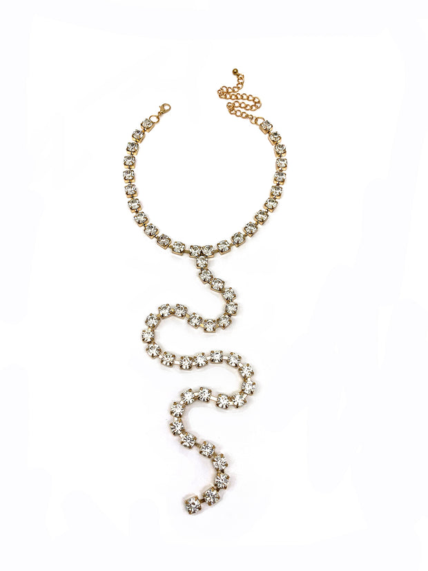 Long Diamante Lariat Necklace