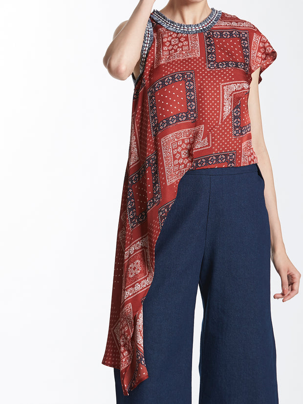 Printed Asymmetric Top with Fringed Trimmings