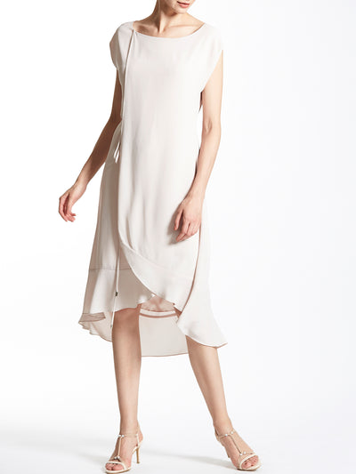 Cap Sleeves Layered Swing Dress with Draw String