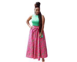 Open image in slideshow, Anika Ankara Pink Skirt