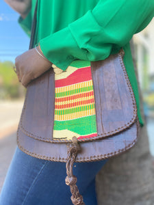 Leather Kente Saddle Bag