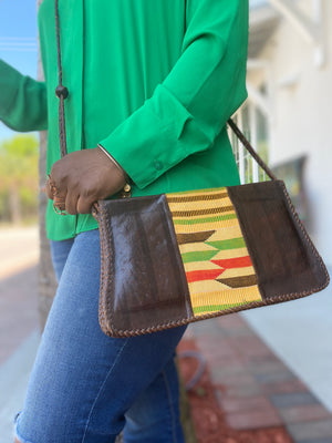 Open image in slideshow, Leather Kente Saddle Bag