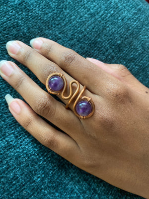 Open image in slideshow, Copper Gem Stone Ring