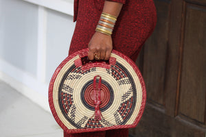 Faso Leather Woven Bag