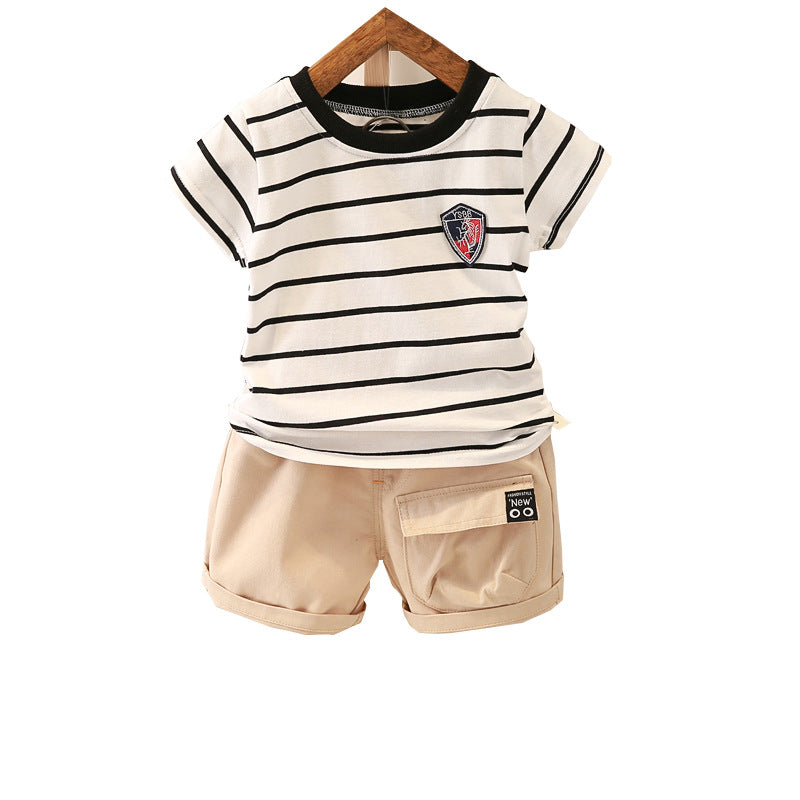 Classic O-Neck T-Shirt with Solid Shorts