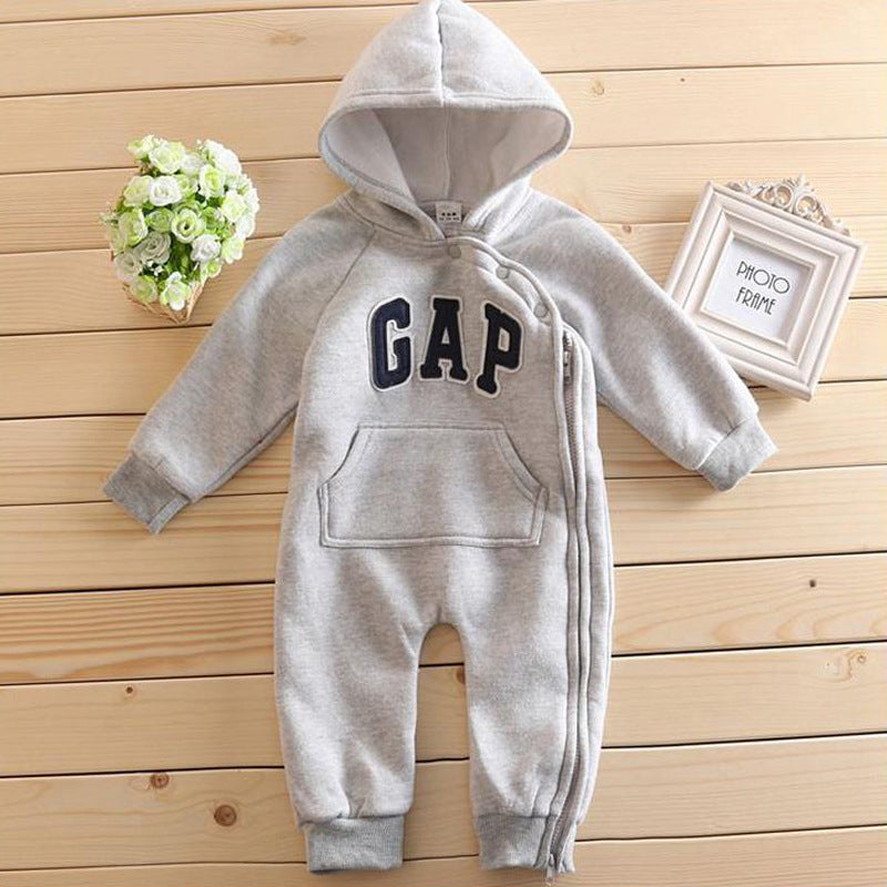 Zipped Warm Hooded Romper Jumpsuit