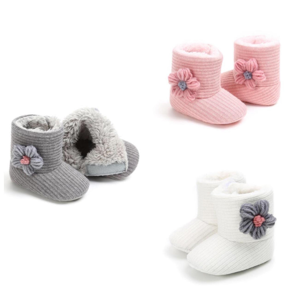 Warm Infant Boots With Big Flower