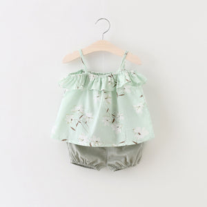 2 Piece Trendy Shorts with Short Frock - Green