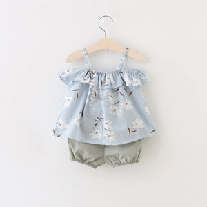 2 Piece Trendy Shorts with Short Frock Blue