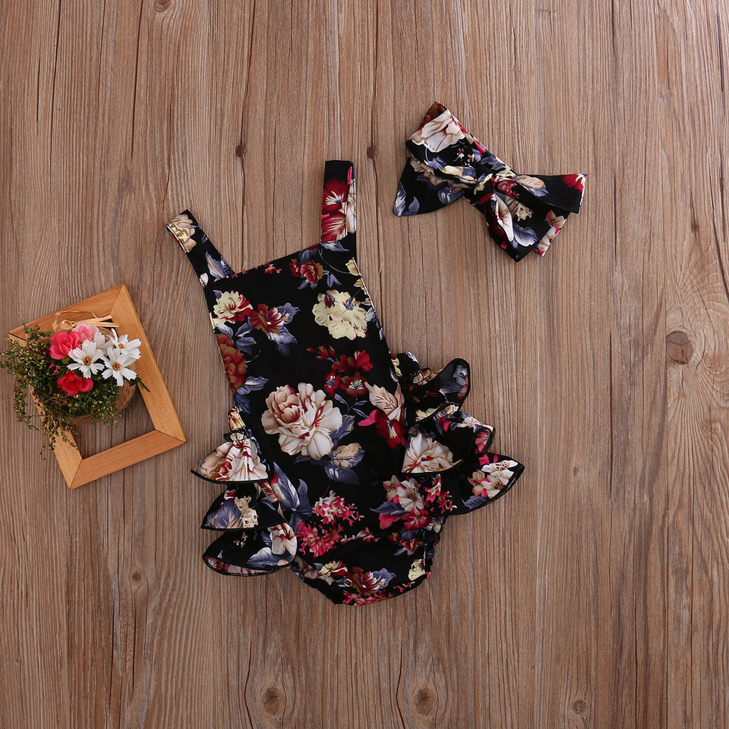 Cool Sleeveless Floral Jumpsuit with Headband