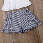 3 Piece Soft Ruffle Top + Plaid Shorts and Headband