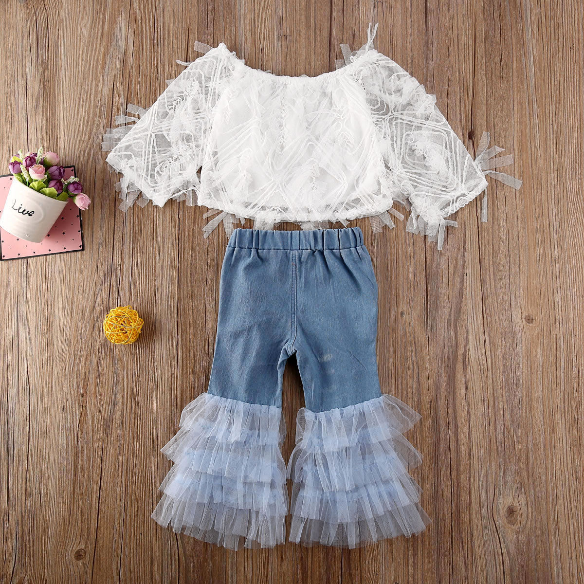 Off Shoulder Crop Top with Ruffle Denim Jeans
