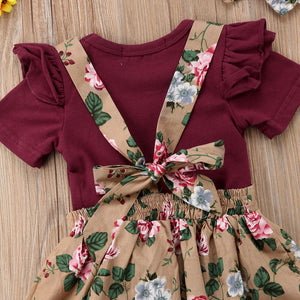 3 Piece Floral Skirt + Romper with Headband
