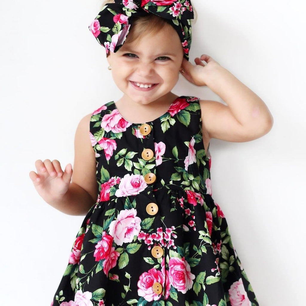 Classic Black Floral Frock with Headband