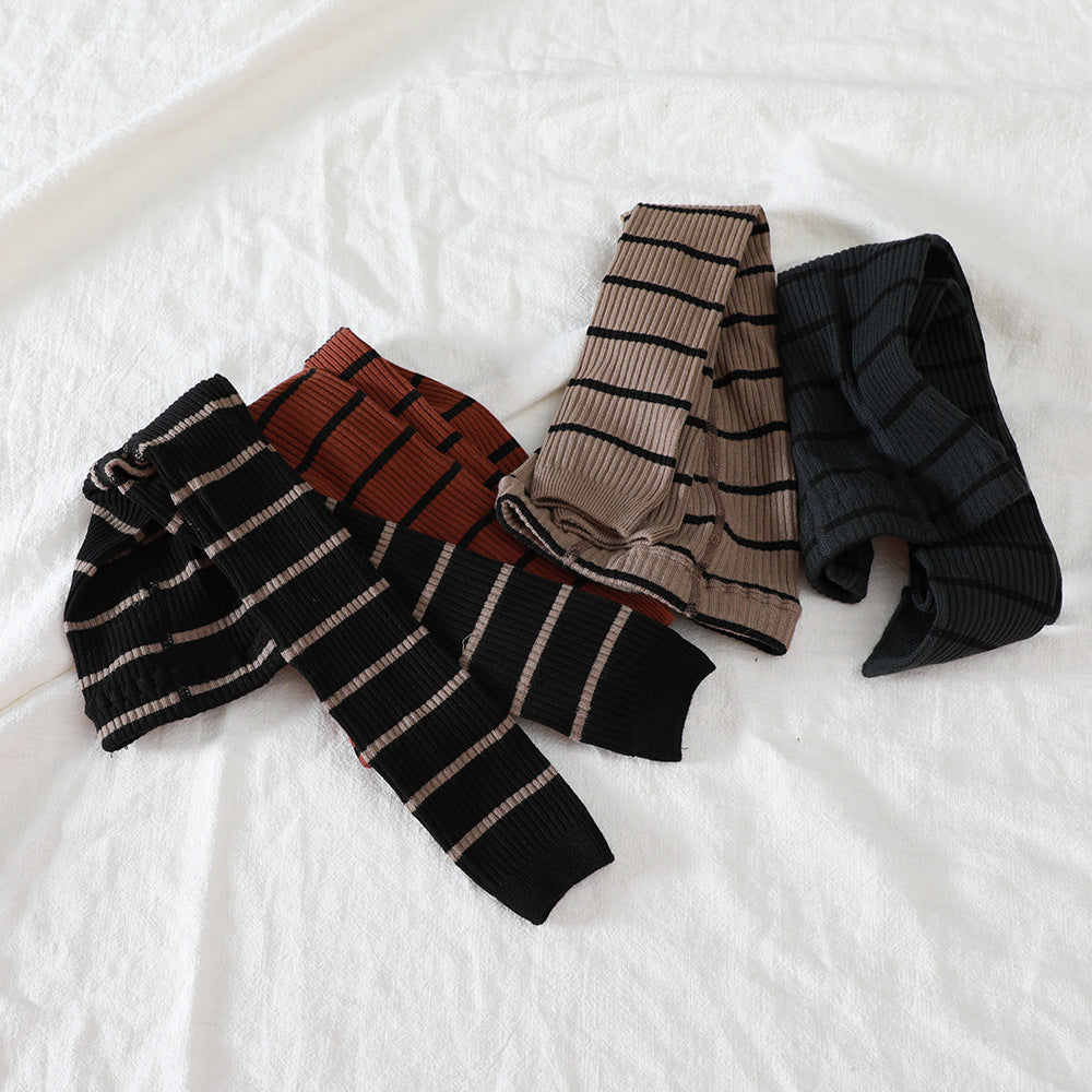 Striped Block Knitted Warm Tights