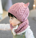 Warm Knitted Cat Ears Cap with Flap Scarf