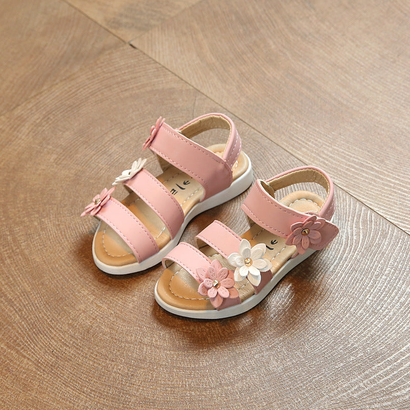 Classic Floral Open Sandals for Baby Girls