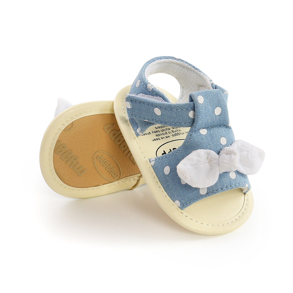 Big Bow Denim Sandals for Infants