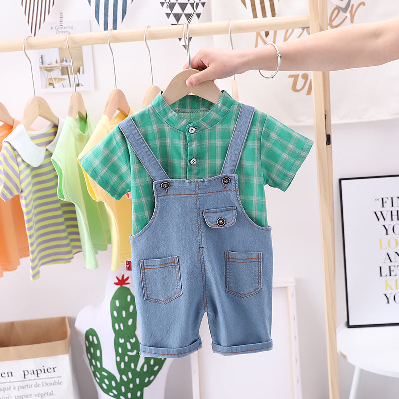 Trendy Denim Dungaree with Half Sleeves Shirt
