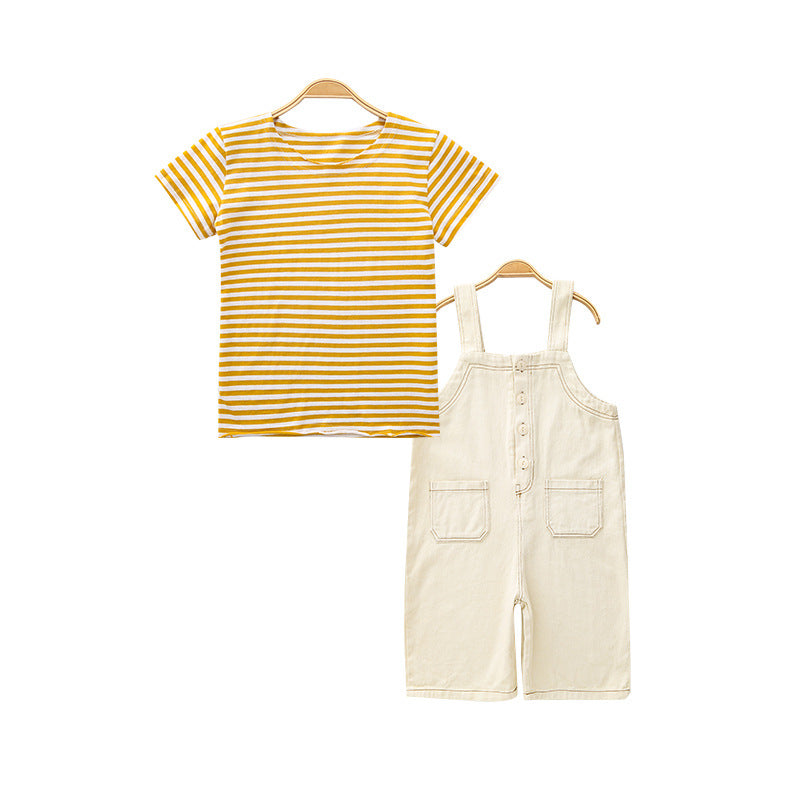 Stylish 2 Piece Jumpsuit with T-Shirt for Baby Girls
