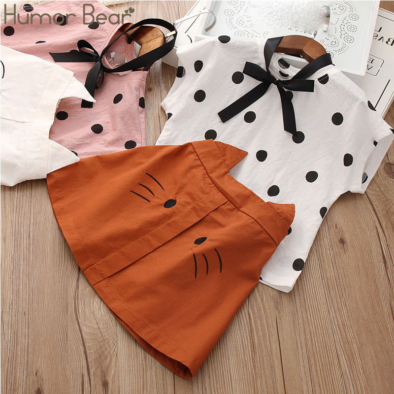 2 Piece Polka Dots Top with Skirt