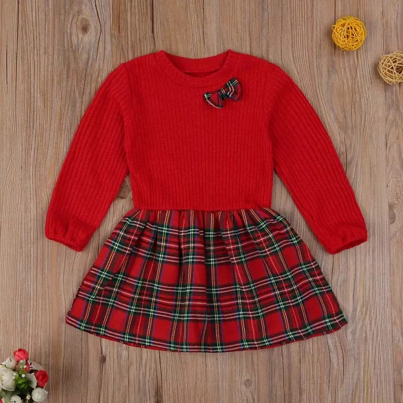 Plaid Bowknot Princess Outfit for Baby Girls