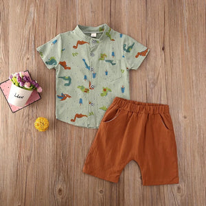 Stylish Dino Printed Shirt with Sold Pants for baby boys