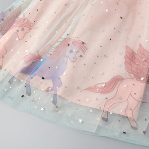 Fancy Summer Lace Mesh Unicorn Frock