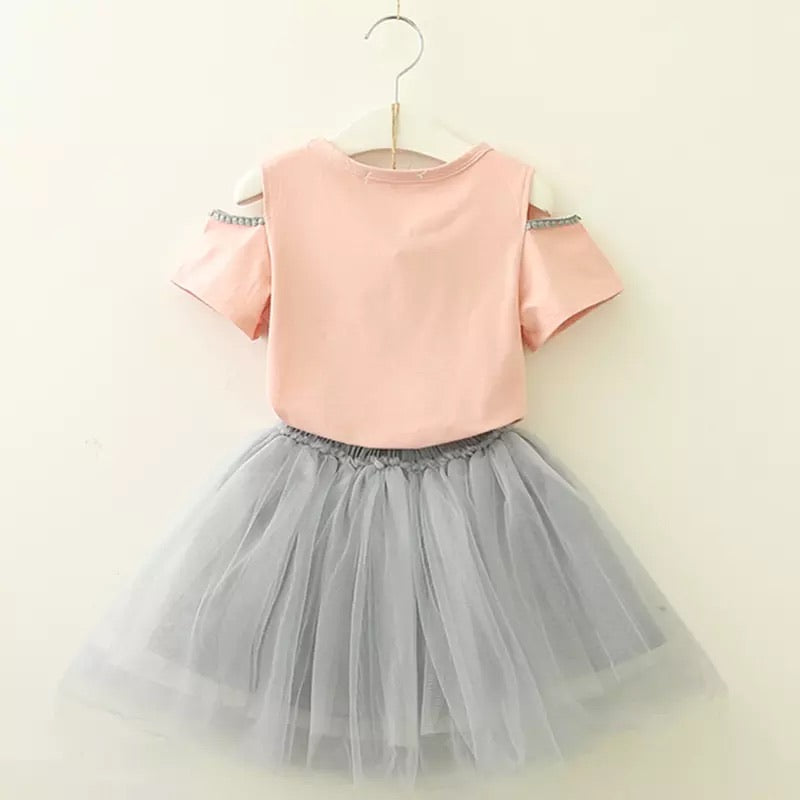 Cute Bunny 2 Pieces Top and Skirt
