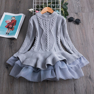Stylish Knitted Long Sleeves Sweater Frock