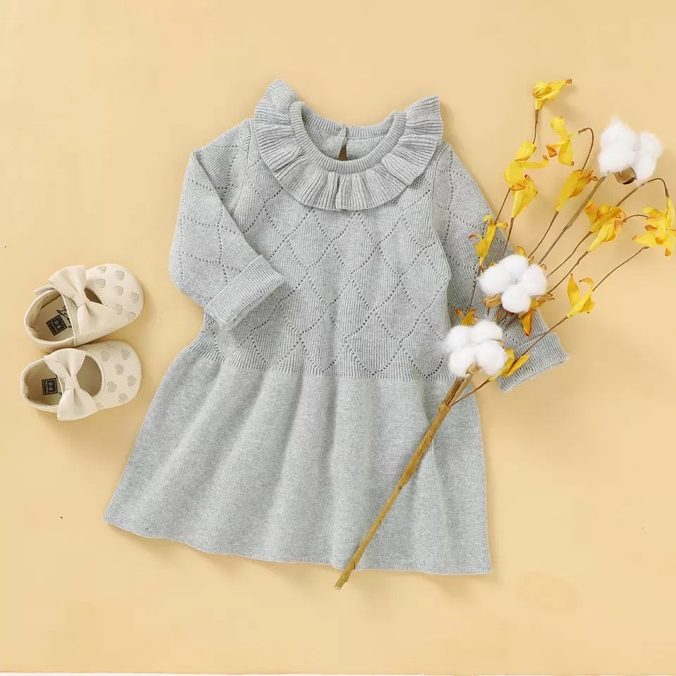 Long Sleeves O Collar knitted Sweater cum Frock