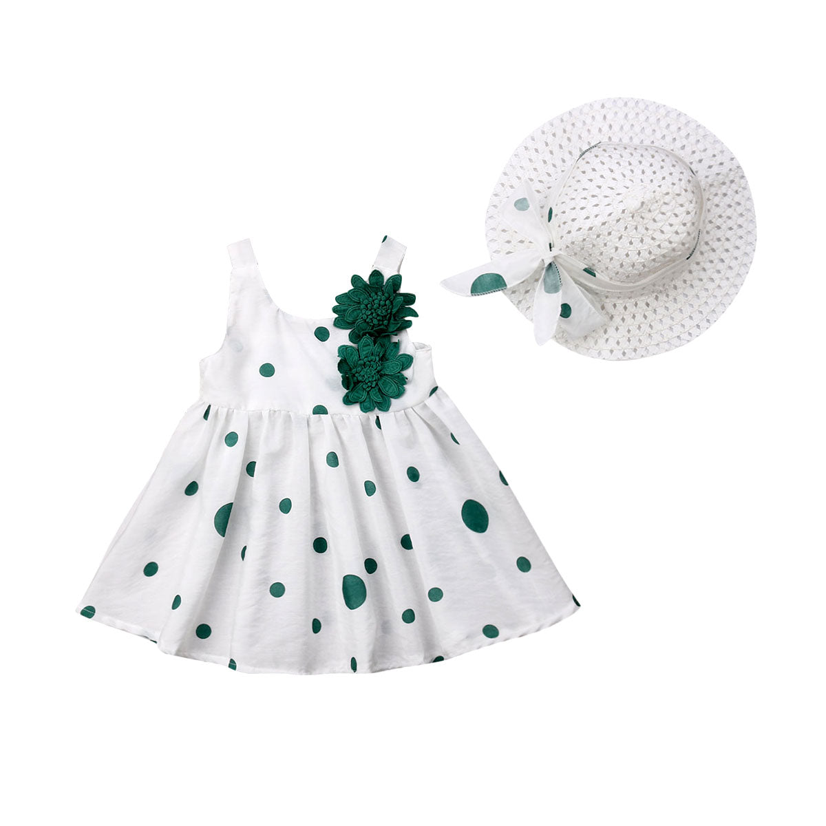 Classic 3D Flowers Frock with Princess Hat