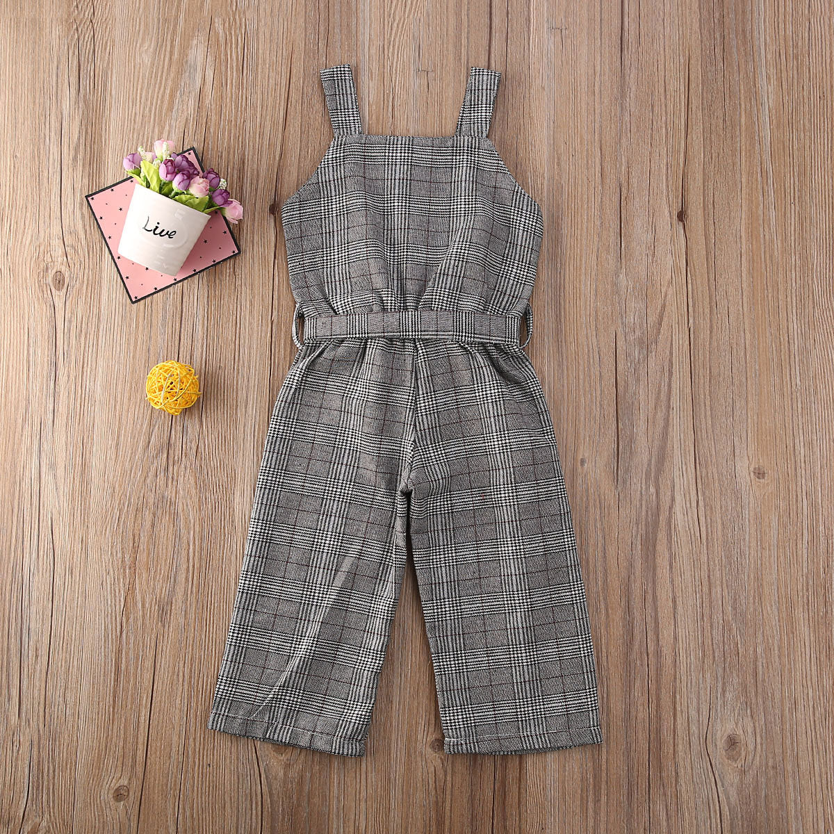 Sleeveless Plaid Jumpsuit for Baby Girls