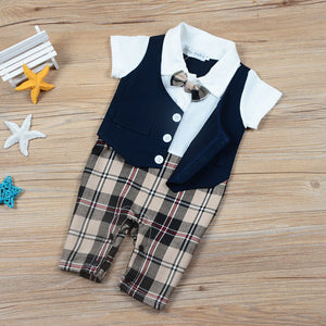 Classic Gentleman Short Sleeves Jumpsuit for Boys