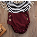 The Classic Maroon Striped Romper with Headband