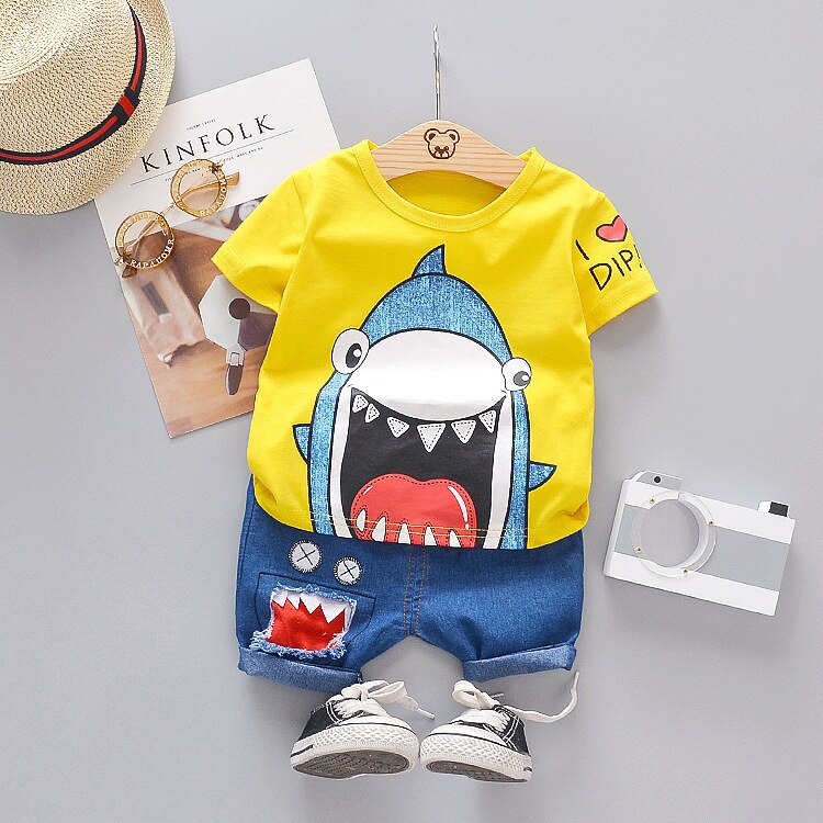 Cutest Shark Printed Shirt and Shorts