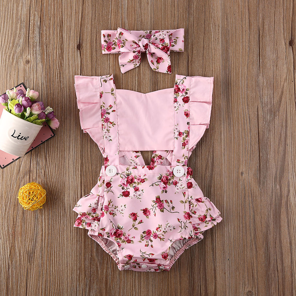 Cute Floral Romper with Headband