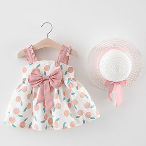 3D Big Bow Colorful Summer Frock with Princess Hat
