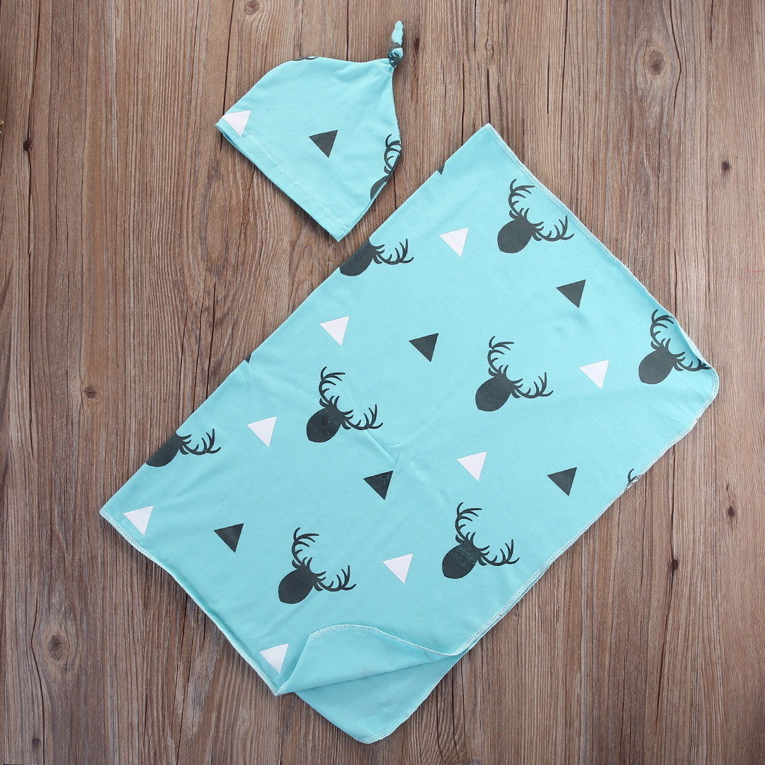 Stretchy Cotton Swaddling Sheet with Cap