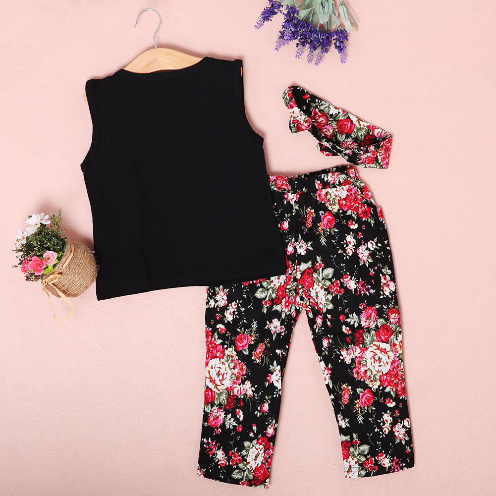 Stylish Sleeveless Shirt, Floral Trousers with hairband
