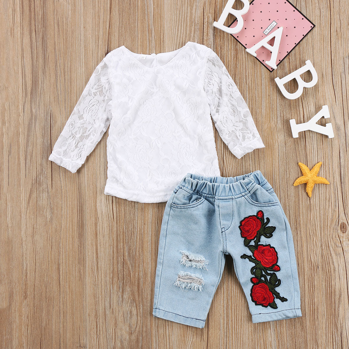 Long Sleeves Lace Shirt + Embroidered Floral Jeans