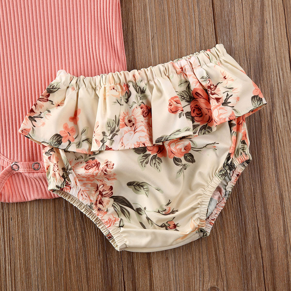 Floral Ruffled Ribbed Romper and Shorts with Headband