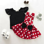 2 Piece Shirt with Polka Dots Straps Skirt