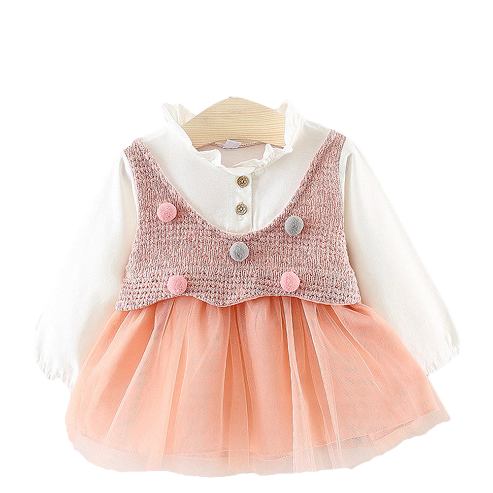Long-Sleeved Patchwork Knitted Tutu Dress