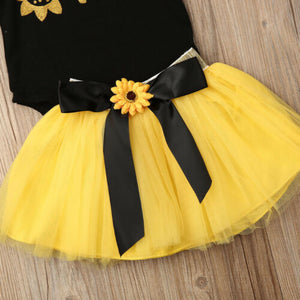 Formal Sunflower Top with Skirt and Band