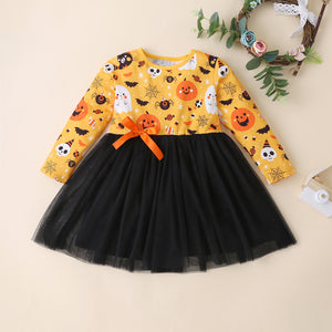 Casual O-Neck Halloween Tutu Dress