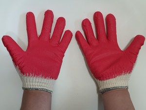 Red Latex Rubber Palm Coated Work Safety Gloves 100PR Made In Korea