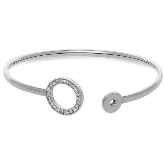 Qudo Cassine Silver Crystal Bangle
