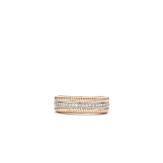 Ti Sento Two Tone Band Ring - Size 54
