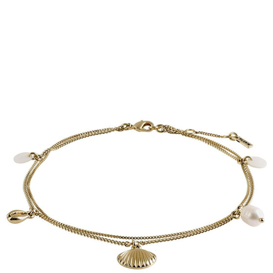 Pilgrim Love White & Gold Ankle Chain